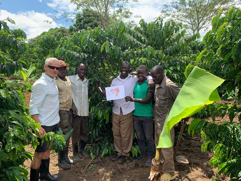 Roland in Uganda with coffee growers